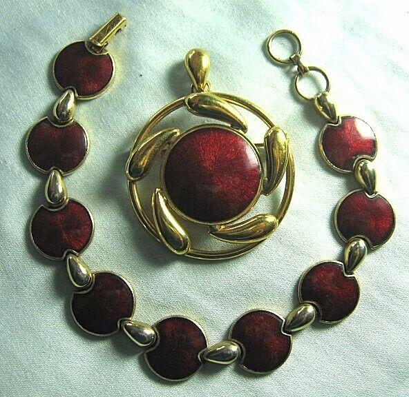"""Gold Plate & Red Enamel Pin / Pendant & Bracelet  Bracelet: 7 3/4"""""""