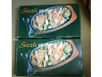 2 x sizzle platters, hot plates