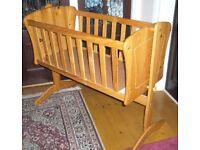 Rocking pine crib and mattress