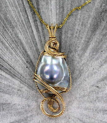 Large Blister Pearl Pendant Necklace 14KT Rolled Gold Wire Wrap Designer Setting (Large Blister Pearl)