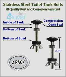Stainless Steel Toilet Tank Mounting Kit 2 Bolt Set No