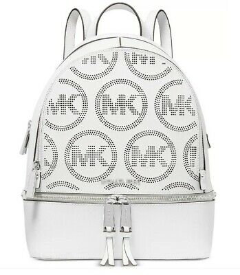 Michael Kors Rhea Medium MK Signature Saffiano Leather Backpack Optic White NWT