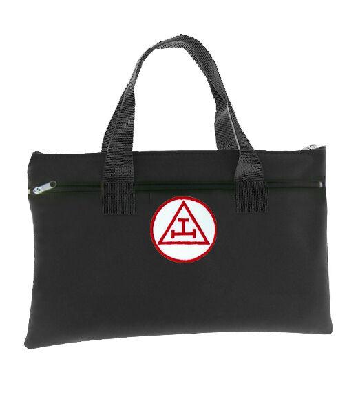 Royal Arch Black Masonic Tote Bag for Freemasons - Red White Triple Tau Icon