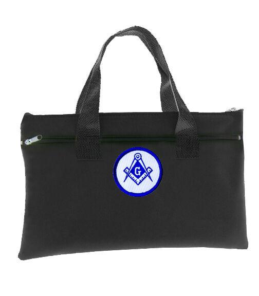 Black Masonic Tote Bag for Freemasons - Blue and White Round Classic Logo