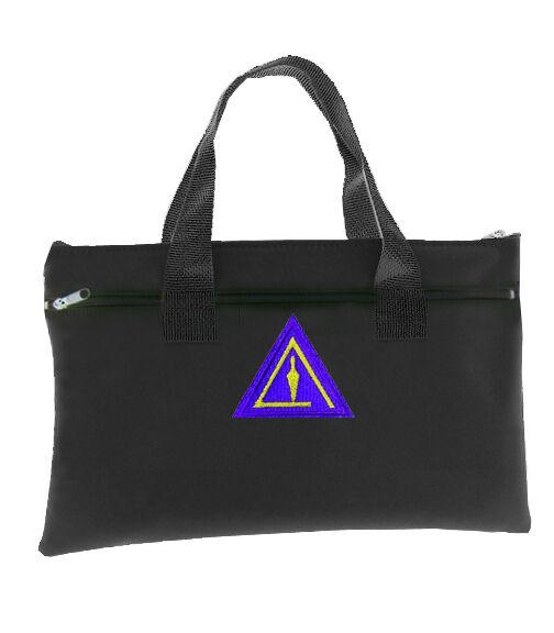 Royal Select Black Masonic Tote Bag Freemasons Trowel Icon Purple - Right Break