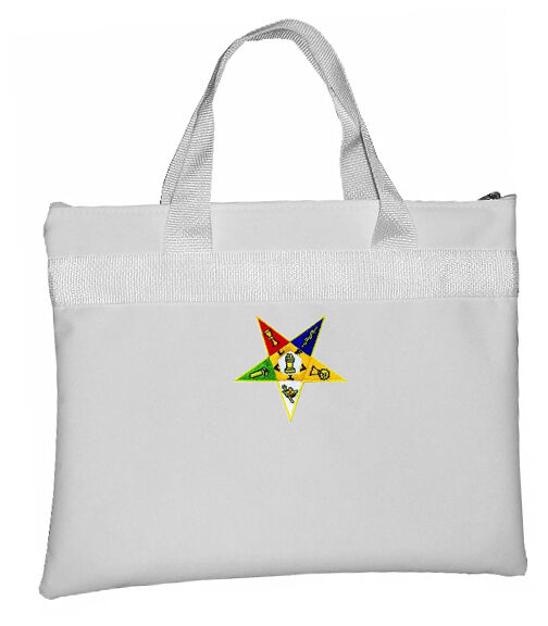 White OES Tote Bag for Order of the Eastern Star - Colorful Classic Cut Out Logo