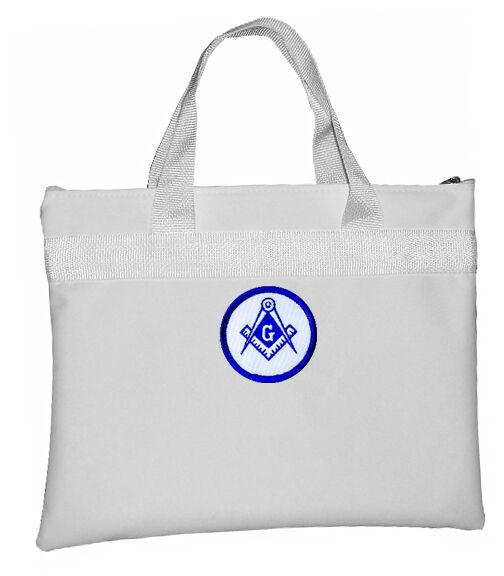 White Masonic Tote Bag for Freemasons - Blue and White Round Classic Logo