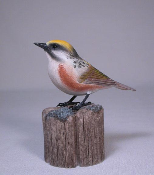 Chestnut-sided Warbler Original Bird Carving/Birdhug