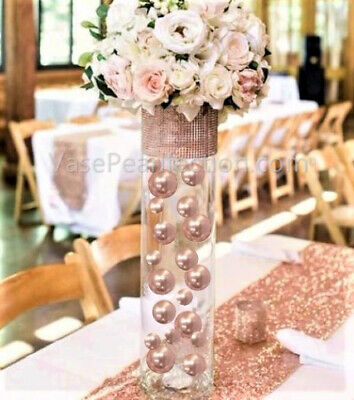 Blush Wedding Decor (No Hole Blush Light Pink/Rose Gold Pearls-Jumbo/Assorted Sizes Vase)