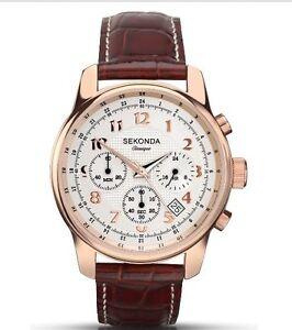 Sekonda Classique Rose Gold Watch White Dial Chronograph Leather Strap 3063.28