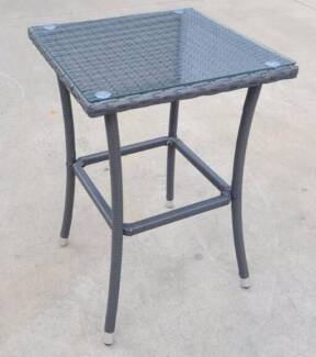 NEW WICKER OUTDOOR Aluminium Frame Tempered Glass High Side Table Part 73
