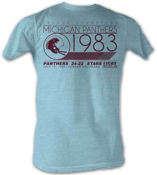 Michigan Panthers We Win USFL Men/'s Crew Neck Tee Shirt Light Blue Sizes S-2XL