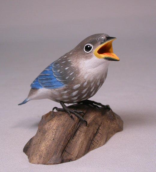 Baby Bluebird Original Backyard Bird Carvings/Birdhug
