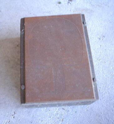 Vintage Wood Metal Printers Block Table Tennis Paddle Image