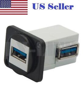 Panel mount port jack plug USB 3.0 female-female connector elbow angle side 90