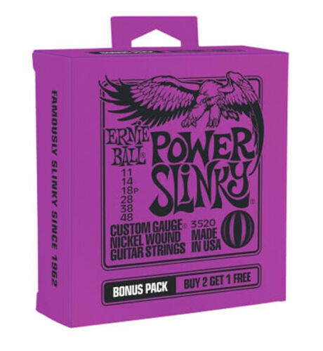 **3 PACK ERNIE BALL 2220 POWER SLINKY NICKEL ELECTRIC GUITAR STRINGS 11-48**