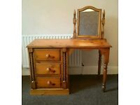 Solid wood dressing table with mirror and matching bed side tables