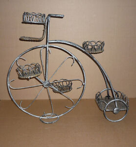 Wrought Iron & Wicker Plant Stand Tricycle .. 3 Tier : Exc Cond