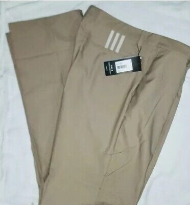 Adidas Mens Golf Pants Climalite Stretch 3 Stripes Size 52 Khaki/Ecru 176PA, (Adidas Golf Mens Climalite 3 Stripes Pant)