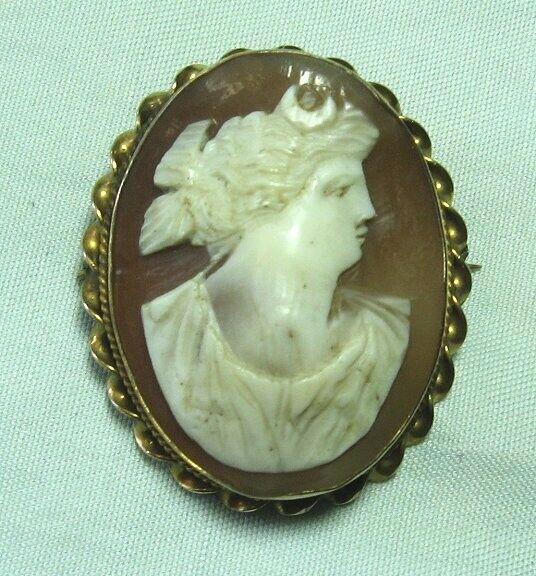 """Victorian Gold Plate Real Shell Cameo Pin 1 1/2"""" x 1 1/4"""""""
