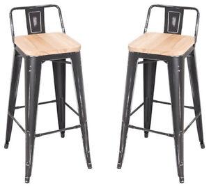 Metal Stools w/ wood seat x4