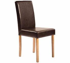 Ashdon Oak Table And 6 Choc/Oak Midback chairs
