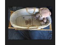 Mothercare teddy's toy box Moses basket bedding and stand neutral