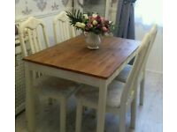 Shabby chic pine table and 4 chairs refurbished