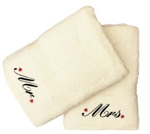 Embroidered Mr and Mrs Bath Towel Pair with Hearts Motif (Cream)
