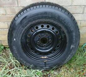 Spare caravan wheel