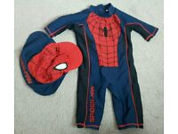 Spiderman swim/sun suit and hat aged 3 years