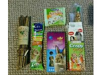 Rabbit food, treats and willow sticks