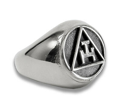 (Steel Masonic rings ebay. Silver Tone Royal Arch Freemasons Round Triple Tau)