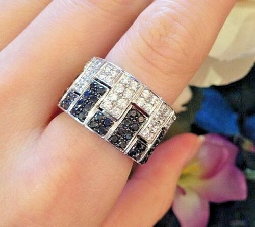 Wide Black and White Diamond Ring 2.80 TCW in 18k WG Made in Italy - HM372