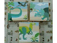 3 dinosaur prints