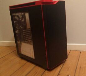 nzxt h440 mid tower case black/red