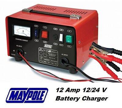 Maypole Heavy Duty Steel 12 Amp 12v/24v Car Van Tractor Battery Charger #716