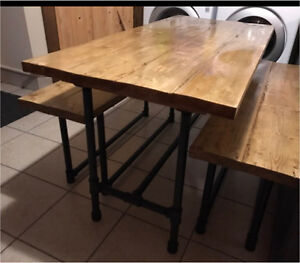 Dinning table with two bench