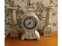 Beautiful French cream clock and matching Candlesticks