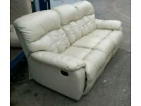 Cream Leather 3 Seater Recliner Sofa ***FREE DELIVERY WITHIN 15 MILES OF DERBY***