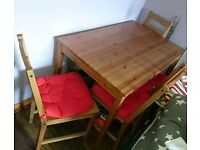 Ikea table oak with 4 chair