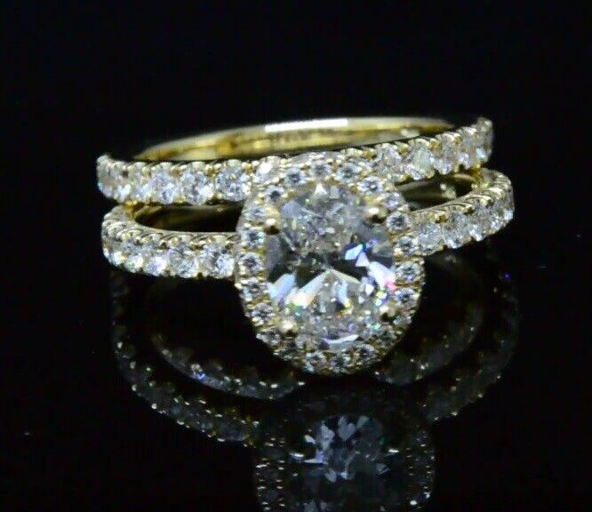 3.50 ct. Halo Oval Cut Diamond Engagement Ring w/ Wedding Band G, VS1 14k WG GIA