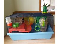Hamster small animal cage with accessories