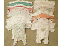 Baby Girl 0-3 & 3-6 & 6-9 Months Sleepsuits/Vests (long & short sleeve)