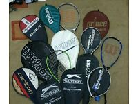 Rackets for Tennis, Badminton and Squash. Top brands; Prince, Wilson,Browning