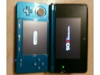 Nintendo 3DS blue console with Smack down vs Raw 2008