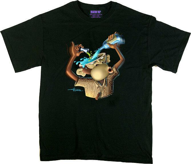 Doug Horne Mens Black T-shirt Retro Cocktail Bar Monkey Mixo