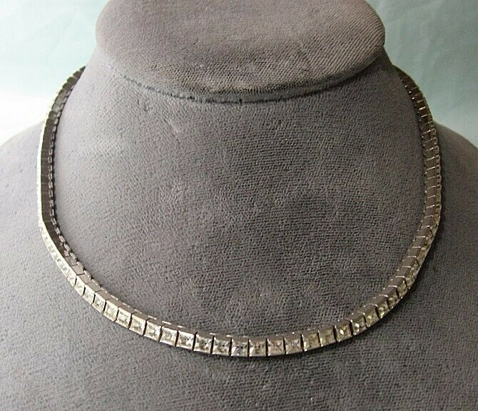 """DORSONS Sterling Silver and Rhinestone Necklace 30.6 grams  14 1/2"""""""