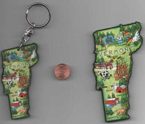 VERMONT   ARTWOOD JUMBO STATE MAP MAGNET with FREE VERMONT ARTWOOD KEYCHAIN