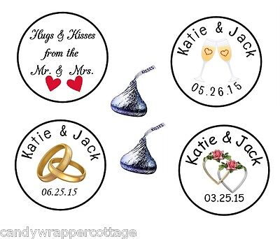 Personalized Wedding Rings (108 Wedding Rings Roses Hearts Kisses Kiss Labels Stickers Personalized Favors)